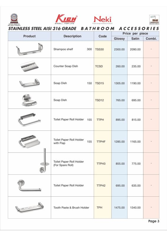 Bathroom Accessories Price List2